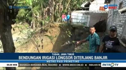 Bendungan Irigasi di Tuban Longsor Tergerus Banjir