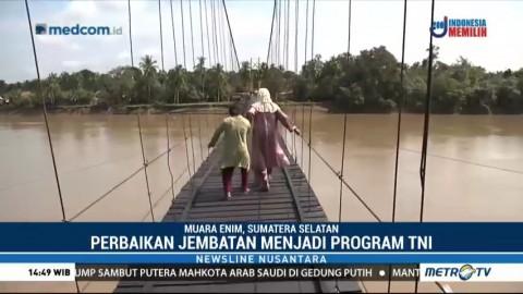 Jembatan Gantung di Muara Enim Selesai Diperbaiki