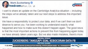Zuckerberg Angkat Bicara soal Skandal Cambridge Analytica