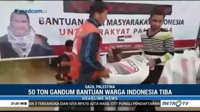 Bantuan 50 Ton Gandum dari Indonesia Tiba di Palestina