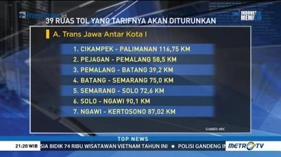 Ini Daftar Ruas Tol yang Tarifnya Diturunkan