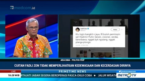 Aria Bima: Cuitan Fadli Zon Tidak Menunjukan Kedewasaan & Kecerdasan