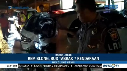 Rem Blong, Bus Pariwisata Tabrak Tujuh Kendaraan di Puncak