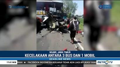 Tiga Bus Alami Kecelakaan Beruntun di Ngawi