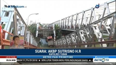 Tiga Truk di Jembatan Widang Belum Bisa Dievakuasi