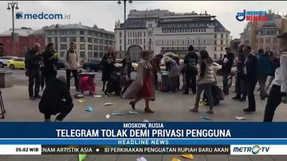 Puluhan Warga Rusia Protes Pemblokiran Telegram
