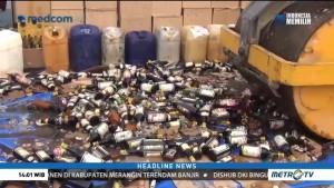 Polres Lampung Selatan Musnahkan Ribuan Botol Miras