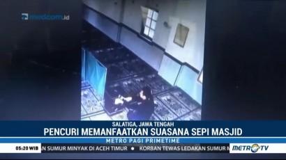 Aksi Pencurian Kotak Amal Masjid di Salatiga Terekam CCTV