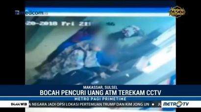 Aksi Dua Bocah Curi Uang Nasabah di ATM Terekam CCTV