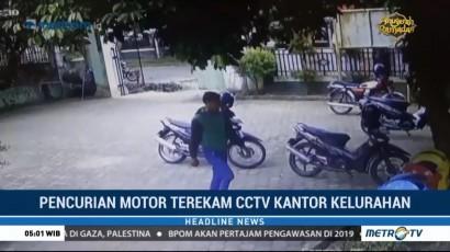 Pencurian Motor di Kantor Kelurahan Terekam CCTV