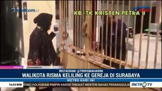 Risma Berkeliling ke Gereja-Gereja di Surabaya