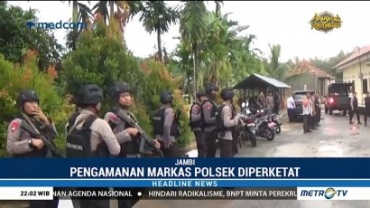Pengamanan Mapolsek Maro Sebo Jambi Diperketat