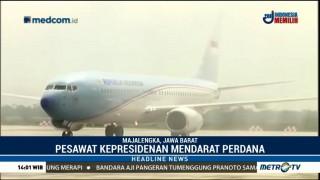 Pesawat Kepresidenan Lakukan Pendaratan Perdana di Bandara Kertajati