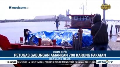 Petugas Tangkap Kapal Pengangkut 700 Karung Pakaian Bekas Ilegal