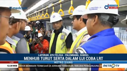 Menhub Uji Coba LRT dari Stasiun Jakabaring