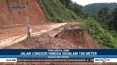 Jalan Longsor di Sarolangun Belum Diperbaiki