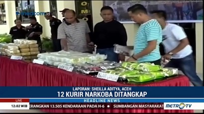 Polisi Tangkap 12 Kurir Pembawa 90 Kg Sabu