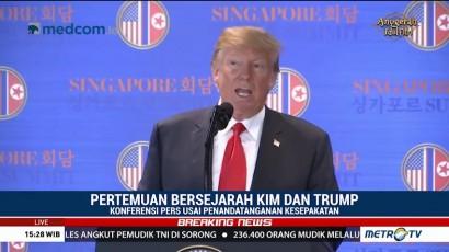 Konferensi Pers Usai Penandatanganan Kesepakatan Trump dan Jong-un