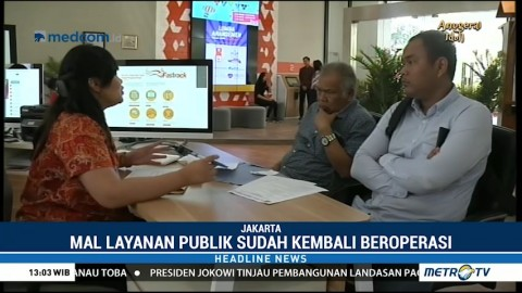 Mal Pelayanan Publik DKI Jakarta Kembali Beroperasi
