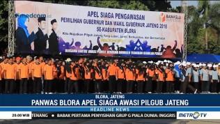 Ribuan Anggota Panwas Blora Ikuti Apel Siaga Pengawasan Pilgub