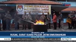 KPU Mojokerto Bakar Surat Suara Pilgub Jatim yang Rusak