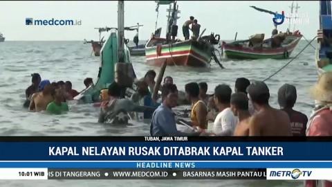 Kapal Nelayan Rusak Ditabrak Kapal Tanker di Tuban