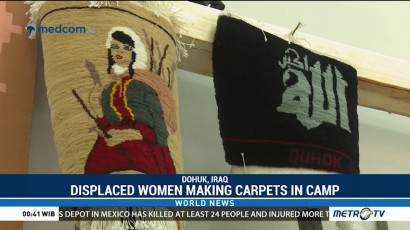 Displaced Women Making Carpets in Camp