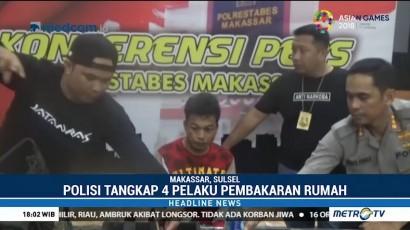 Polrestabes Makassar Tangkap Empat Pembakar Satu Keluarga