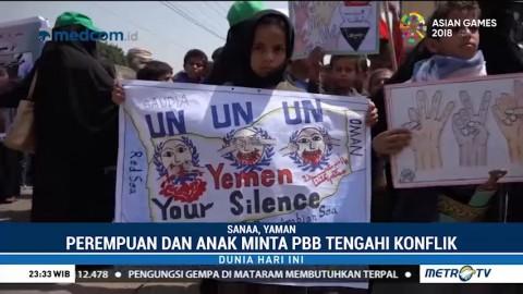 Ratusan Anak dan Wanita di Yaman Demo Depan Kantor PBB