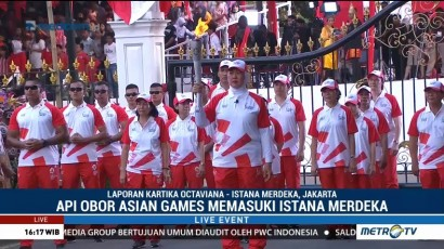 Kirab Obor Asian Games Tiba di Istana Merdeka