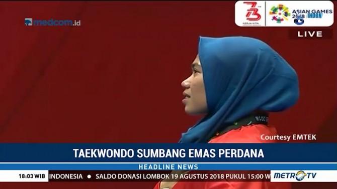 Atlet Taekwondo Defia Rosmaniar Sumbang Medali Emas Pertama