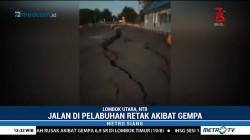 Jalan di Pelabuhan Kayangan Lombok Retak Akibat Gempa