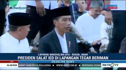 Jokowi Salat Ied di Lapangan Tegar Beriman Cibinong