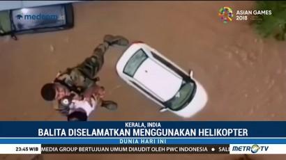 Dramatis, Balita Korban Banjir Diselamatkan dengan Helikopter