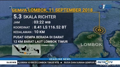 Gempa 5,3 SR Kembali Guncang Lombok