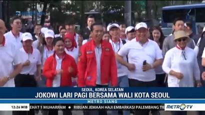Jokowi Lari Pagi Bersama Wali Kota Seoul