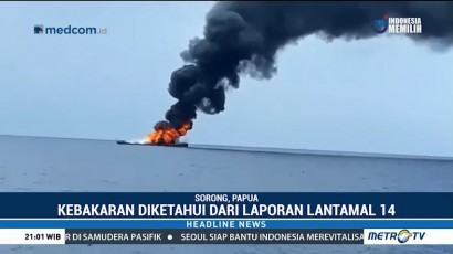 KRI Rencong Terbakar di Selat Sagawin