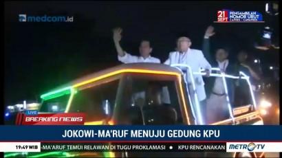 Jokowi-Ma'ruf Naik Mobil Hias ke KPU
