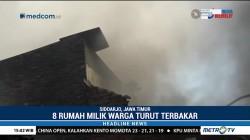 8 Rumah dan Gudang Sandal di Waru Sidoarjo Hangus Terbakar