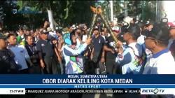 Arak-arakan Obor Asian Para Games Keliling Kota Medan