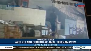Aksi Pengendara Mobil Mewah Curi Kotak Amal Terekam CCTV