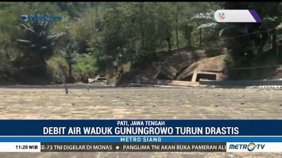Debit Air di Waduk Gunung Rowo Turun Drastis Akibat Kekeringan