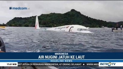 Pesawat Air Niugini Jatuh ke Laut