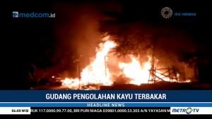 Gudang Pengolahan Kayu di Tulungagung Terbakar