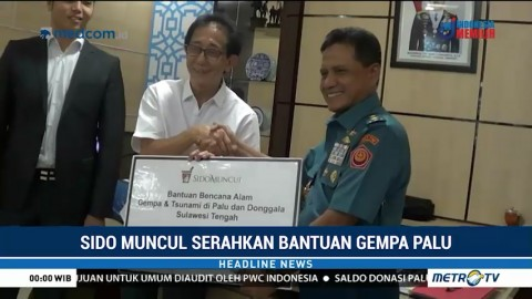 Sido Muncul Serahkan Bantuan untuk Korban Gempa Sulteng