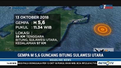 Gempa 5,6 SR Guncang Bitung