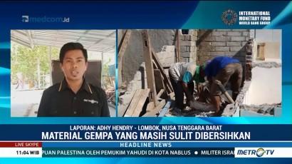 Warga Lombok Utara Kesulitan Bersihkan Material Sisa Gempa