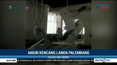 Stasiun LRT Palembang Rusak Akibat Angin Kencang