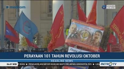 Warga Komunis di Moskow Peringati 101 Tahun Revolusi Oktober