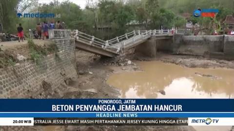 Tergerus Hujan, Jembatan Antar Desa di Ponorogo Ambruk